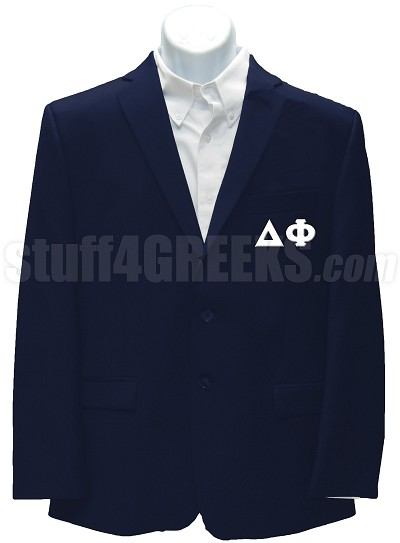 Delta Phi Blazer Jacket with Greek Letters, Navy Blue