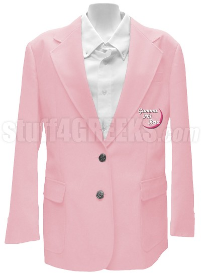 Gamma Phi Beta Blazer Jacket with Embellished Crescent Moon, Pink