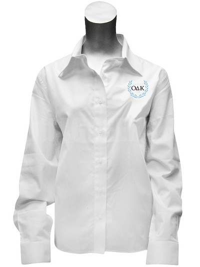 Omicron Delta Kappa Ladies Button Down Shirt with Crest, White