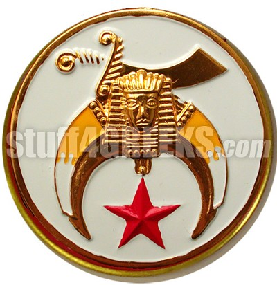 Shriners Round White Crest Car Emblem