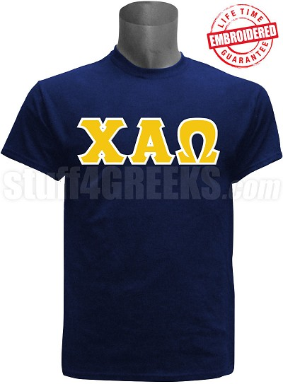 Chi Alpha Omega Greek Letter T-Shirt, Navy Blue - EMBROIDERED with Lifetime Guarantee