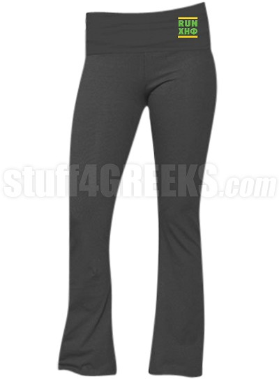 Chi Eta Phi Run DMC Screen Printed Yoga Pants, Charcoal (BC)