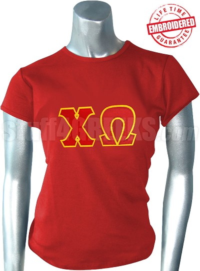 Chi Omega T-Shirt with Greek Letters, Red - EMBROIDERED with Lifetime Guarantee