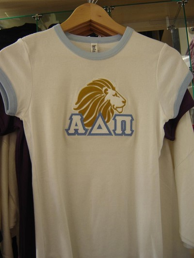 ONLY ONE LEFT: Alpha Delta Pi Lion Ringer Shirt, White w/ Blue cuffs, Size S - MAKE AN OFFER