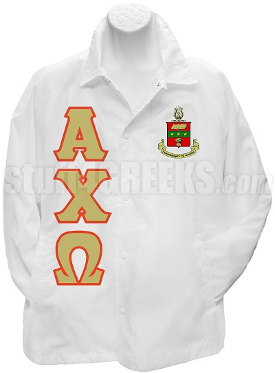 Alpha Chi Omega Line Jacket with Letters and Crest, White