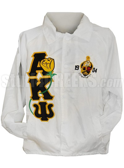 Alpha Kappa Psi Line Jacket with Rose Thru Greek Letters and Founding Year Crest, White