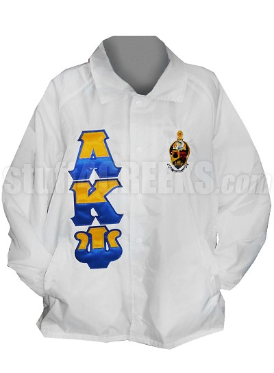 Alpha Kappa Psi Line Jacket with Split Greek Letters and Crest, White