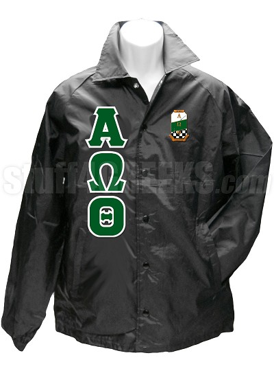 Alpha Omega Theta Christian Fraternity Greek Letter Line Jacket with Crest, Black