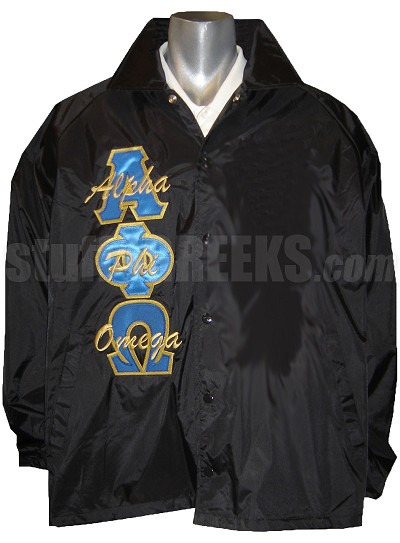 Alpha Phi Omega Line Jacket with Name Thru Greek Letters, Black