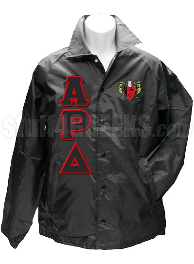 Alpha Rho Delta Greek Letter Line Jacket with Crest, Black