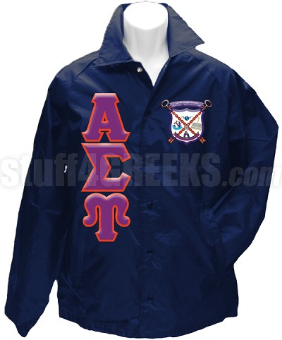 Alpha Sigma Upsilon Greek Letter Line Jacket with Crest, Navy Blue