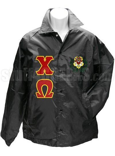 Chi Omega Line Jacket with Greek Letters and Crest, Black