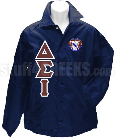Delta Sigma Iota Greek Letter Line Jacket with Crest, Navy Blue