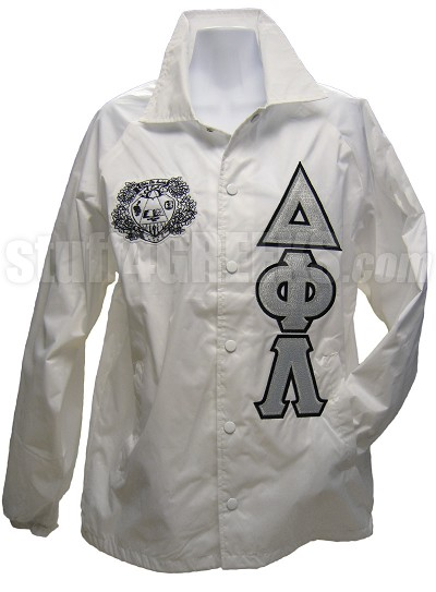 White Delta Phi Lambda Crest Line Jacket with Greek Letters, White