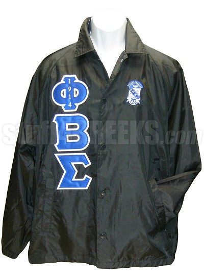 Phi Beta Sigma Greek Letter and Crest Line Jacket with 1914 Inside Phi, Black