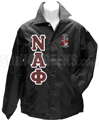 Nu Alpha Phi Greek Letter Line Jacket with Crest, Black