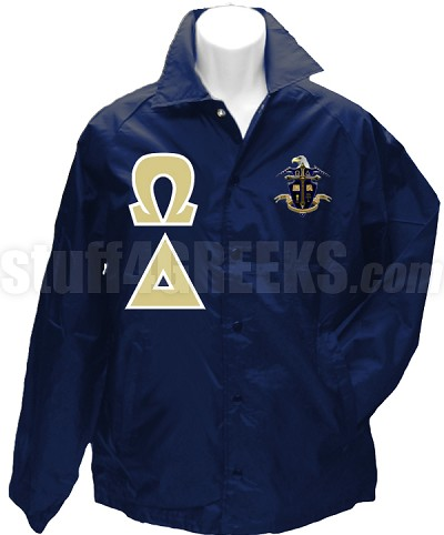 Omega Delta Greek Letter Line Jacket with Crest, Navy Blue