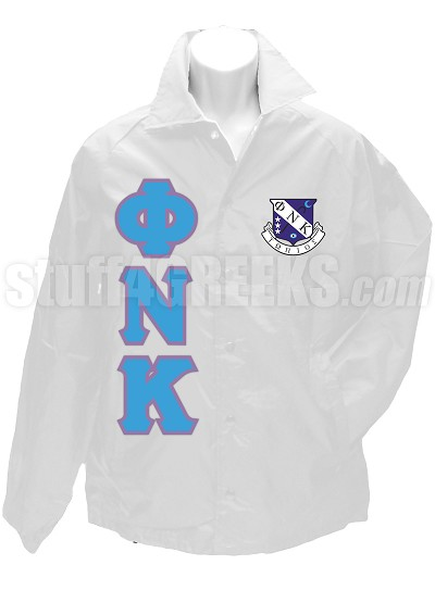 Phi Nu Kappa Greek Letter Line Jacket with Crest, White