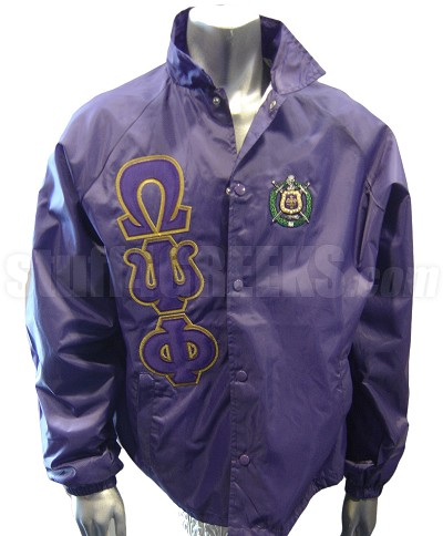 Purple Omega Psi Phi Line Jacket with Letters and Crest Only