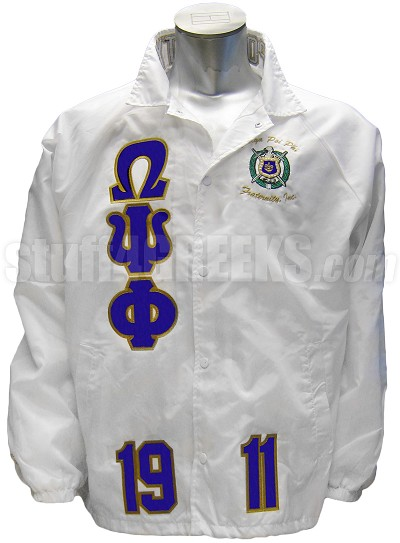 Omega Psi Phi Greek Letter Line Jacket with Crest and Founding Year, White