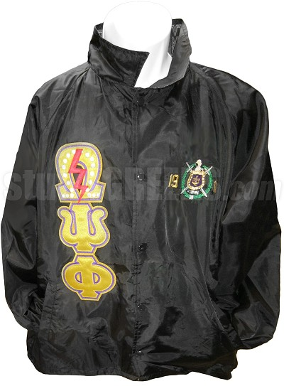 Omega Psi Phi Triple Greek Letter Line Jacket with Founding Year Crest and Pearl Lightning Bolt Omega, Black