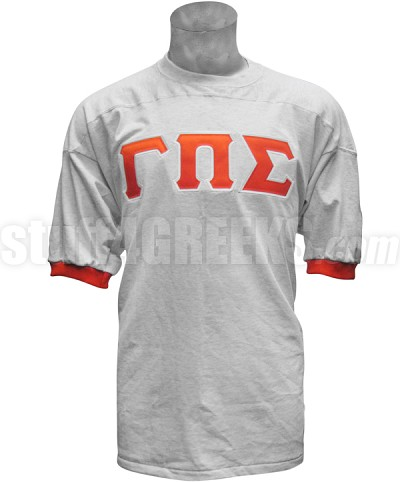 Gamma Pi Sigma Crossing Jersey with Greek Letters, Gray/Orange