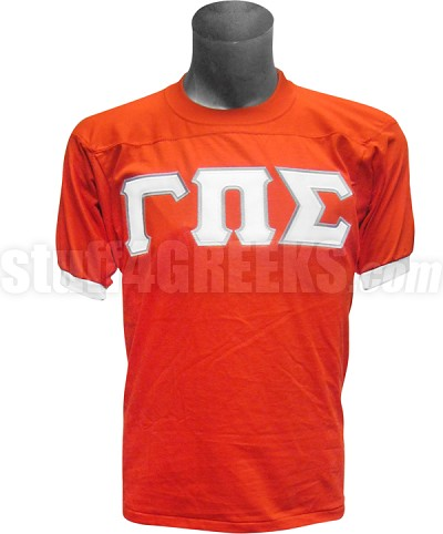 Gamma Pi Sigma Crossing Jersey with Greek Letters, Orange/White