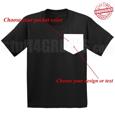 Custom Faux Pocket T-Shirt - EMBROIDERED with Lifetime Guarantee
