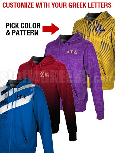Custom Full-Color Edge-to-Edge Sublimated Greek Full Zip-Up Hoodie (TW S0218)