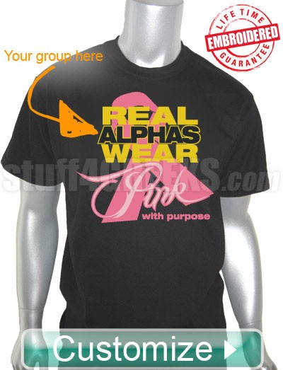 Custom Greek Fraternity Pink Ribbon Breast Cancer Awareness T-Shirt - EMBROIDERED with Lifetime Guarantee