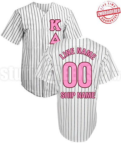 Fraternity/Sorority Standard Custom Cloth Pinstripe Baseball Jersey: Includes Greek Letter Front, Left Sleeve Text, Back Sleeve Text, Back Line Name, Back Line Number, and Back Ship Name (TW) - EMBROIDERED WITH LIFETIME GUARANTEE