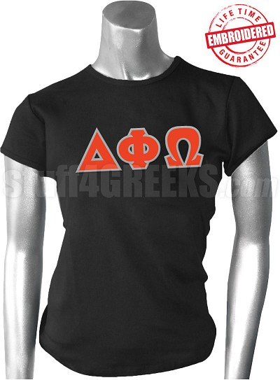 Delta Phi Omega Greek Letter T-Shirt, Black - EMBROIDERED with Lifetime Guarantee