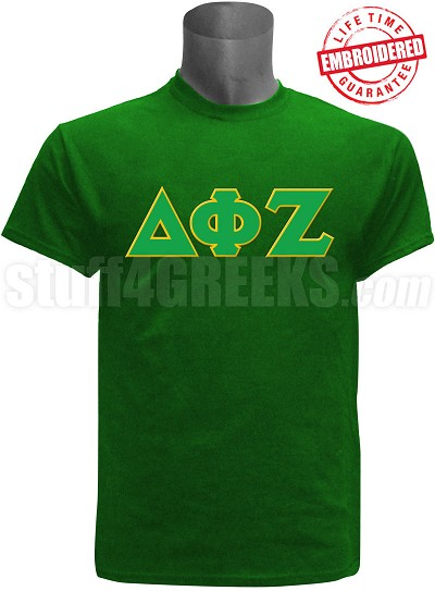 Delta Phi Zeta Greek Letter T-Shirt, Green - EMBROIDERED with Lifetime Guarantee