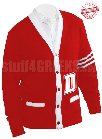 "Big Varsity ""D"" Letter Cardigan, Red/White (A+)"