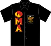 Phi Mu Alpha Dickies Shirt, Black With Diagonally-Split Letters