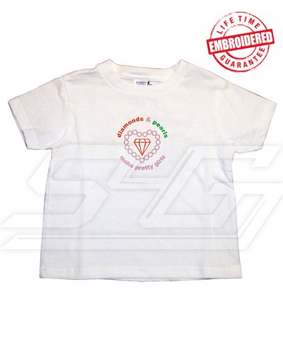 Diamonds and Pearls Make Pretty Girls T-Shirt - EMBROIDERED with Lifetime Guarantee