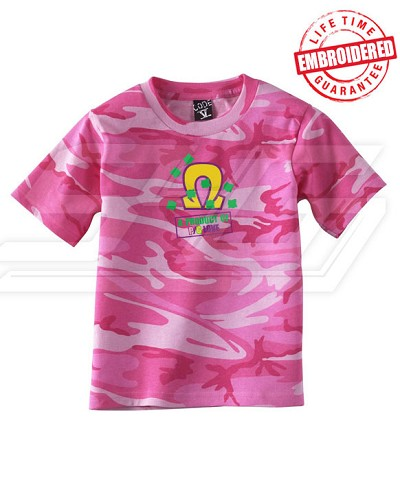 A Product of P/G Love Pink Camo T-shirt - EMBROIDERED with Lifetime Guarantee