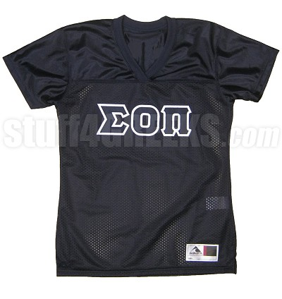 Sigma Omicron Pi Greek Letter Football Jersey, Navy Blue