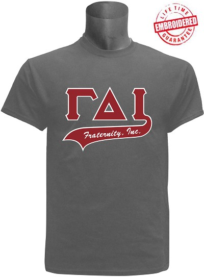 Gamma Delta Iota Greek Letter Tail T-Shirt, Grey - EMBROIDERED with Lifetime Guarantee