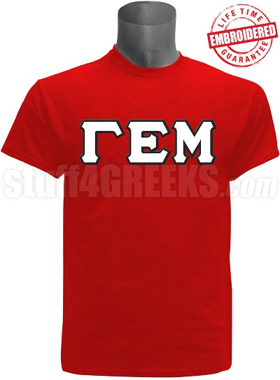 Gamma Epsilon Mu Greek Letter T-Shirt, Red - EMBROIDERED with Lifetime Guarantee