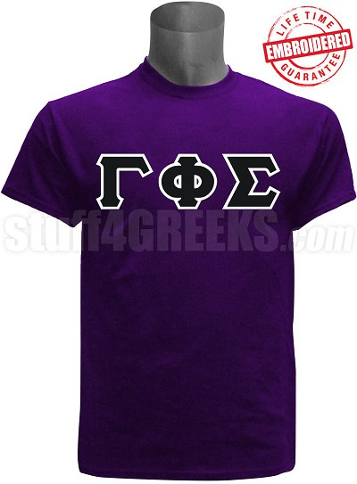 Gamma Phi Sigma Greek Letter T-Shirt, Purple - EMBROIDERED with Lifetime Guarantee