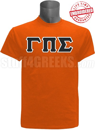 Gamma Pi Sigma Greek Letter T-Shirt, Orange - EMBROIDERED with Lifetime Guarantee
