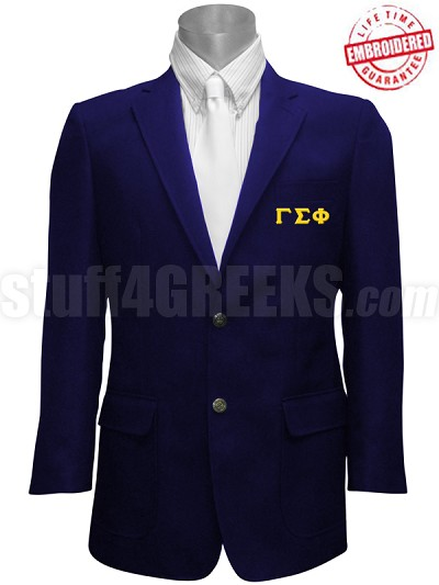 Gamma Sigma Phi Blazer Jacket with Greek Letters, Navy Blue