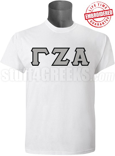 Gamma Zeta Alpha Greek Letter T-Shirt, White - EMBROIDERED with Lifetime Guarantee