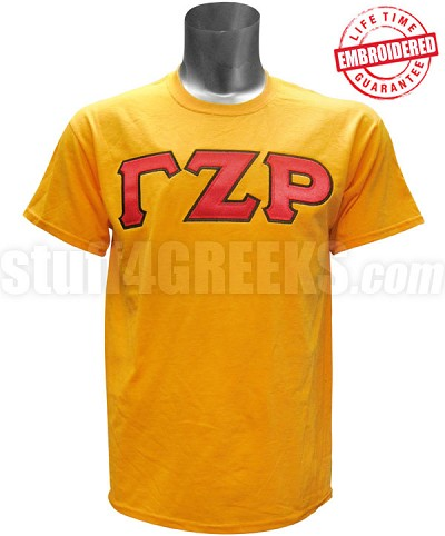 Gamma Zeta Rho Greek Letter T-Shirt, Gold - EMBROIDERED with Lifetime Guarantee