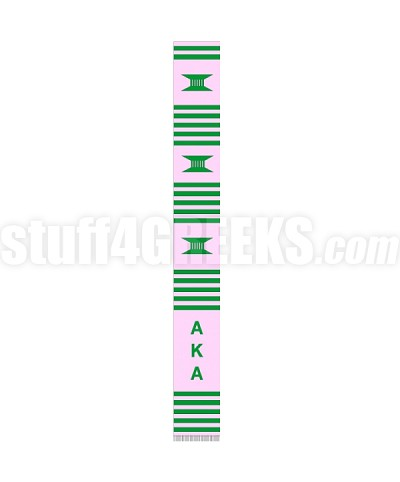 Alpha Kappa Alpha Greek Letter Kente Graduation Stole, Pink