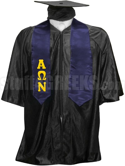 Alpha Omega Nu Satin Graduation Stole with Greek Letters, Navy Blue