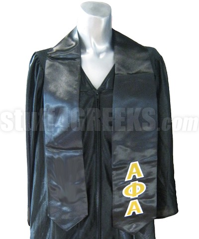 Alpha Phi Alpha Satin Graduation Stole with Greek Letters, Black