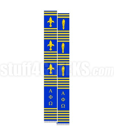 Alpha Phi Omega Greek Letter Kente Graduation Stole with Torch, Royal Blue