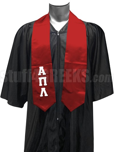 Alpha Pi Lambda Satin Graduation Stole with Greek Letters, Red